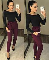 """Женские модные брюки с высокой талией с рюшами  """"Панни"""" и поясом-бантом бордовые"""