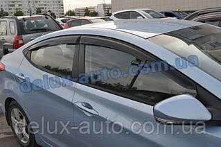Ветровики Cobra Tuning на авто Hyundai Elantra V Sd 2011 Дефлекторы окон Кобра для Хюндай Елантра 5 седан 2011