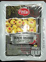 Турецкие оливки фаршированные перцем зеленые Fimtad 400 г