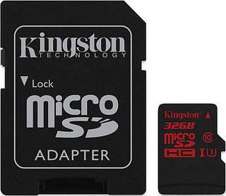 Карта памяти Kingston microSDHC/SDXC UHS-I U3 90R/80W SD adapter 32Gb #I/S