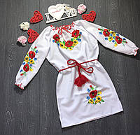 Платье вышитое детское с маками и подсулнухами