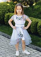 Нарядное вышитое платье для девочки с фатиновой юбкой