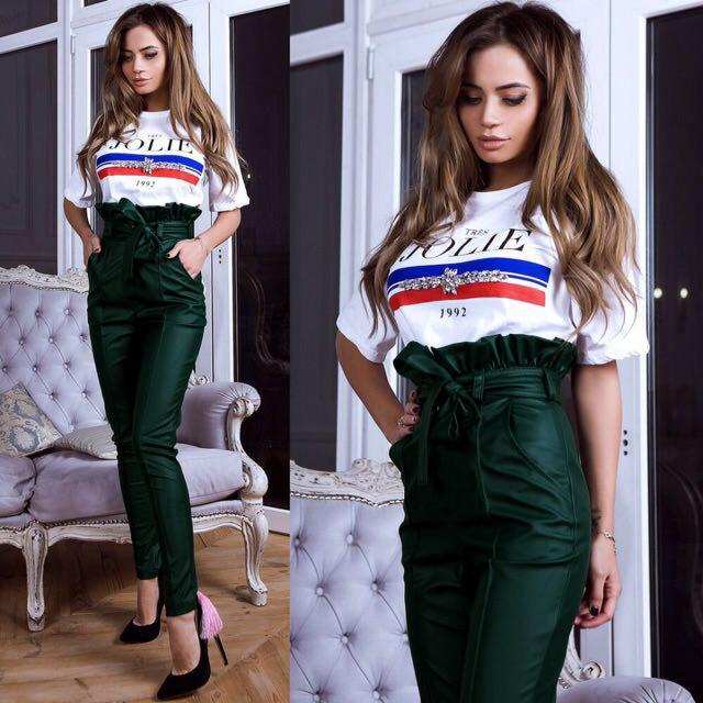 """Кожаные женские молодежные брюки с завышеной  талией """"Bransh"""" и поясом зауженные темно-зеленые 44 размер"""