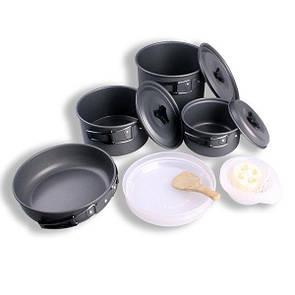 Набор туристической анодированного алюминия посуды DS-500 на 5 персон. Туристичний набір посуди 15в1