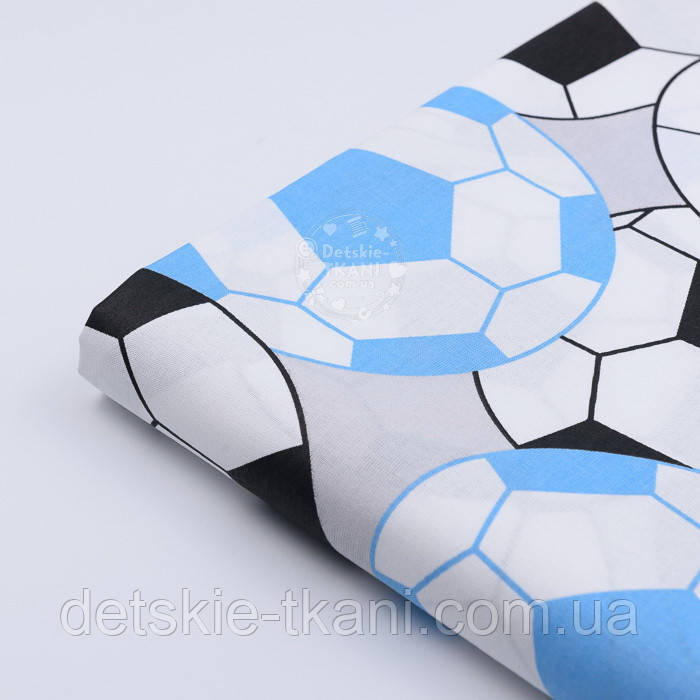 """Лоскут ткани №1167 """"Футбольные мячи"""", цвет голубой и чёрный"""