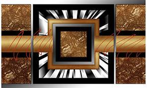 Модульная картина Бронзовая абстракция 50х130 см (HAT-196)