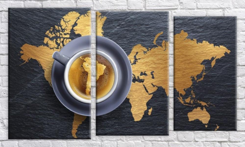 Модульная картина Абстракция кофе 54х94 см (HAT-216)