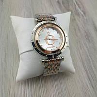 Женские наручные часы Pandora 6861 Cristal комби серебро золото с белым циферблатом реплика