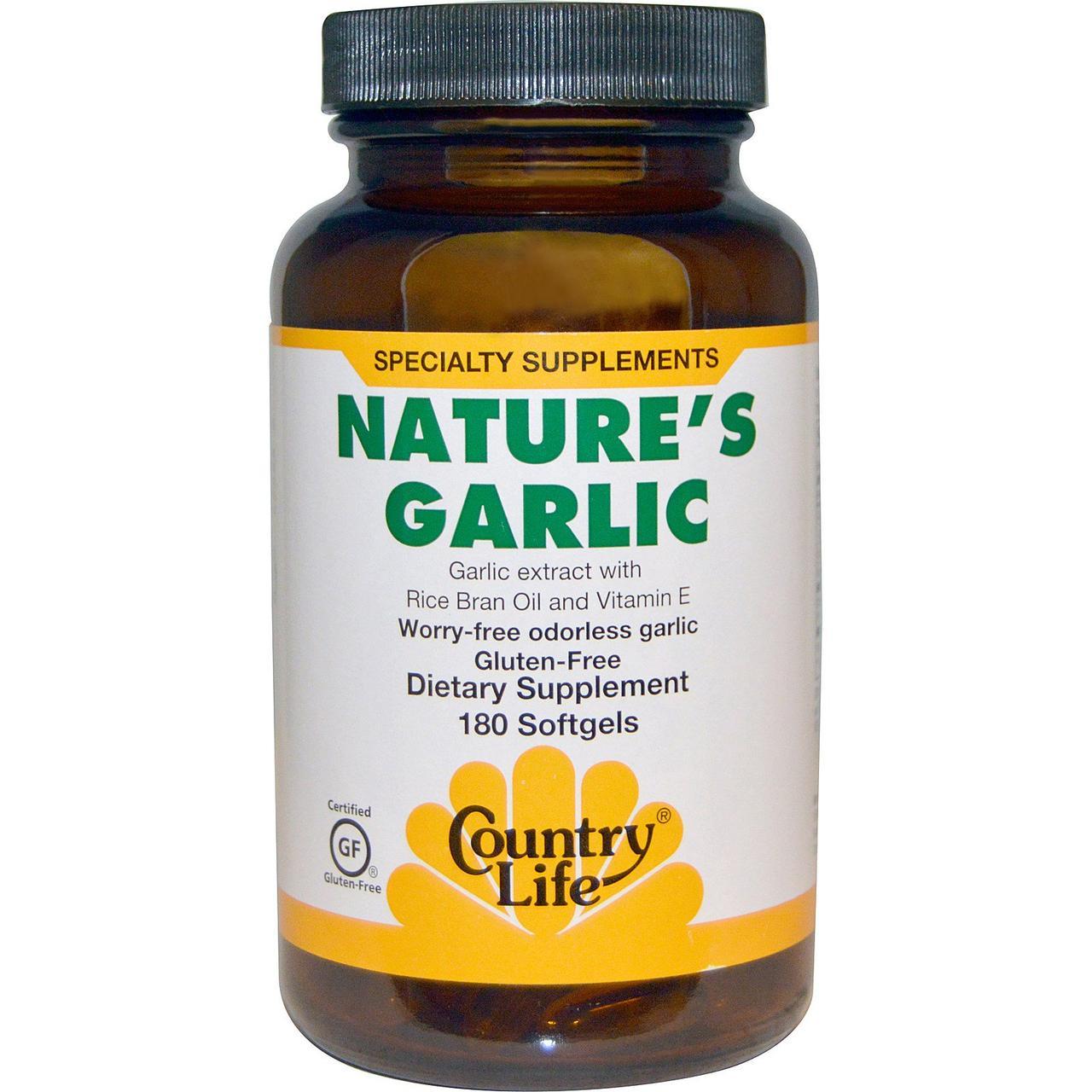 """Натуральный чеснок Country Life """"Nature's Garlic"""" с витамином Е и маслом рисовых отрубей (180 капсул)"""