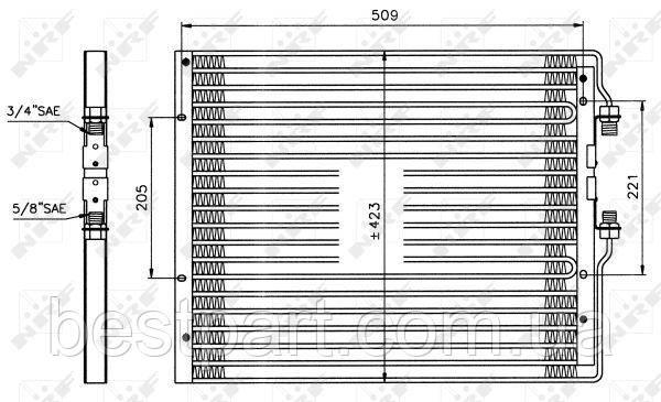 Радіатор кондіціонера для вантажівки IVECO EUROCARGO I-III, TURBOSTAR 07.84-09.15