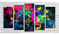 Модульная картина Абстракция кляксы 55х100,5 см (HAB-168)