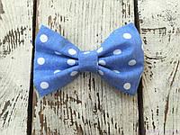 Галстук бабочка, голубая в белый горошек