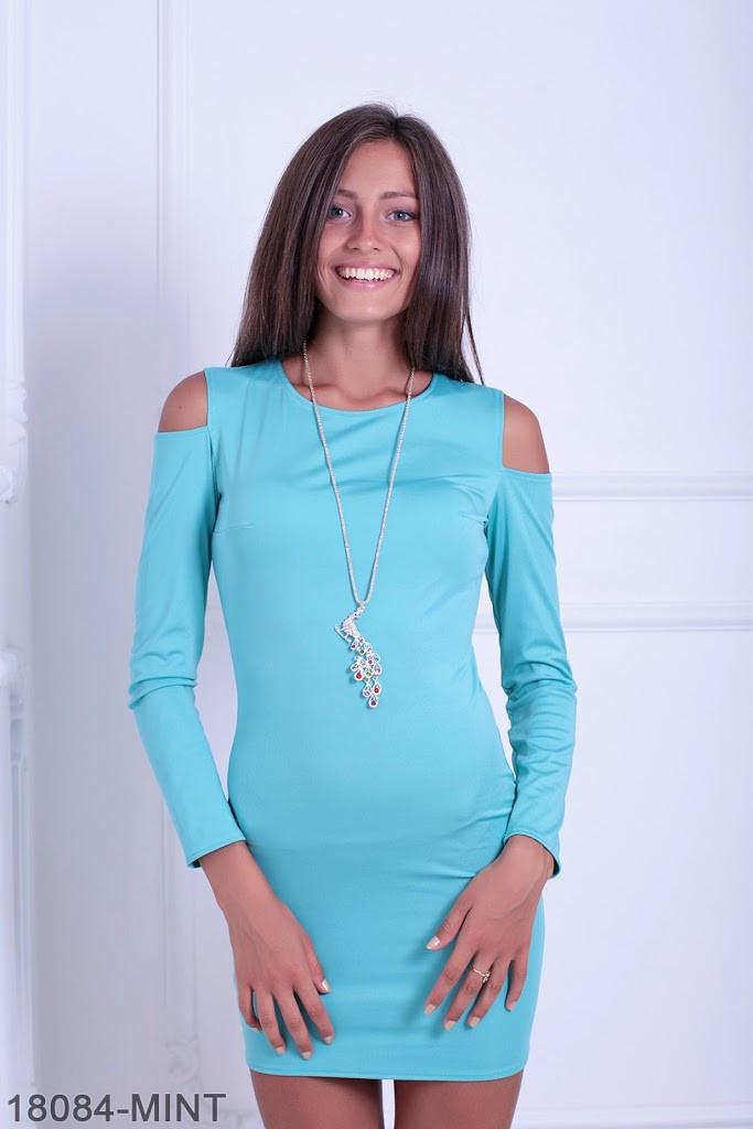 Яркое молодежное приталенное платье с вырезами на плечах  Starlа - SvitStyle