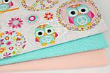 """Лоскут ткани """"Космо-совы"""" с розовыми цветами, № 1040а, размер 40*66 см, фото 2"""