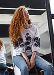 Современная женская хлопковая блуза украшена вышивкой , фото 2