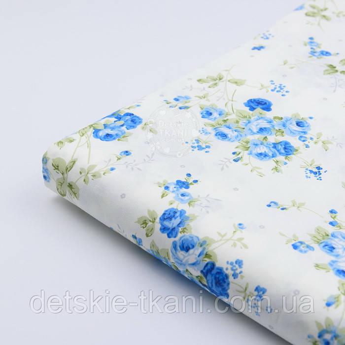 """Отрез сатина """"Букетики голубых цветов"""" на молочном №1741с, размер 78*160 см"""
