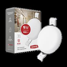 Светильник 9W светодиодный врезной LED MAXUS SP edge, 4100К (круг)