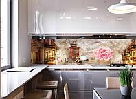 Наклейки кухонный фартук  Вечерняя прогулка  (виниловая наклейка на стену, скинали ,декор , розы ,кофе ) 600х2500мм