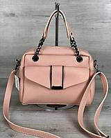 Розовая сумка 56610 саквояж с ручками и ремешком через плечо на молнии