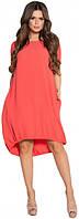 Платье кораллового цвета свободного кроя большого размера, платье красивое повседневное, платье молодежное