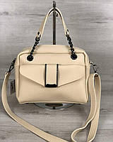 Бежевая сумка 56609 саквояж с ручками и ремешком через плечо на молнии, фото 1