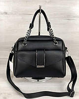 Черная сумка 56604 саквояж с ручками и ремешком через плечо на молнии, фото 1