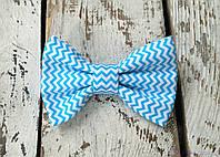 Бабочка галстук, голубой зигзаг, фото 1