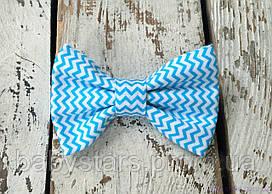 Бабочка галстук, голубой зигзаг