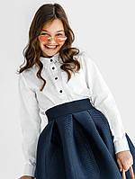 Белая школьная блузка-рубашка для девочки 128,134,140,146 рост