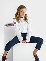 Белая блуза с оборками в школу 128,134,140,146 рост
