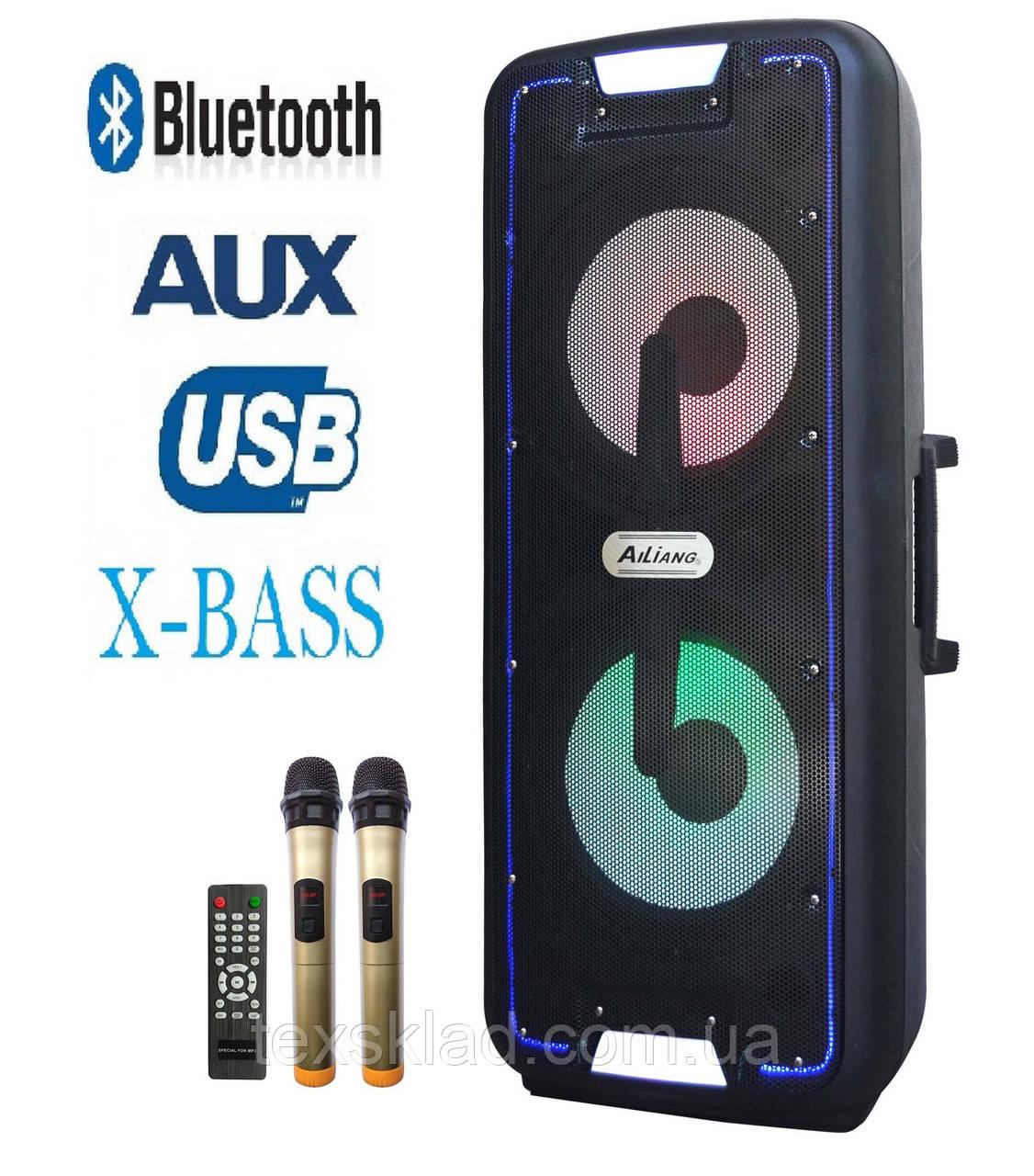 Потужний комбік з даумя радіомікрофонами UF-A1210K 200W BASS (Bluetooth/USB/FM)