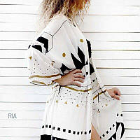 Женская стильная пляжная туника белая с узором, пляжный халат