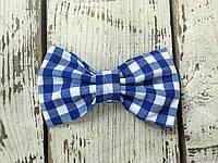 Детский галстук бабочка, голубая клетка