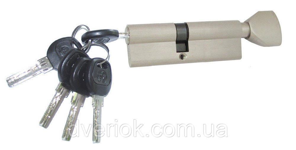 Цилиндровый механизм USK B-80 (30x50) ключ/поворотник Никель
