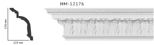 Карниз потолочный с орнаментом Classic Home New  HM-12176 лепной декор из полиуретана,