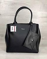 Черная сумка 56704 саквояж деловая модная, фото 1