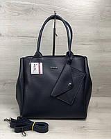 Синяя сумка 56703 саквояж деловая мягкая с кошельком, фото 1