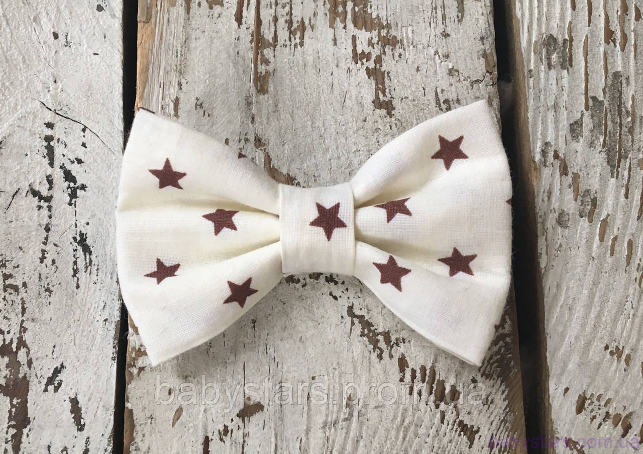 Галстуки бабочки детские, коричневые звезды