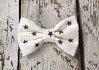 Галстуки бабочки детские, коричневые звезды, фото 1