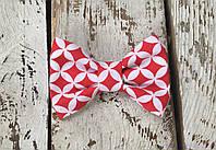 Детская бабочка галстук, красно-белая геометрия
