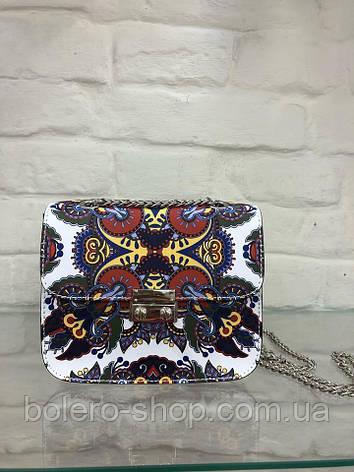 Сумка Италия Furla кожаная белая с цветочным орнаментом, фото 2