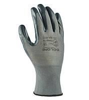 Перчатки рабочие трикотажные с нитриловым покрытием ДОЛОНИ №4577, серые
