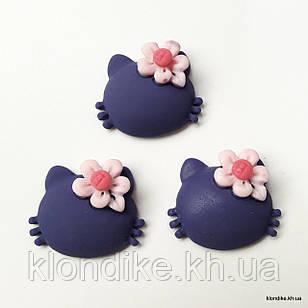 """Серединки """"Китти"""", Акрил, 2×2 см, Цвет: Фиолетовый (5 шт.)"""