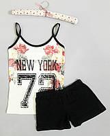 """Пижама женская хлопковая майка и шорты """"New York"""" 72"""