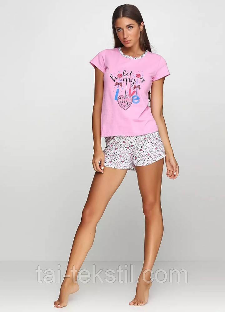 Пижама женская футболка и шорты хлопок 100% Турция №002