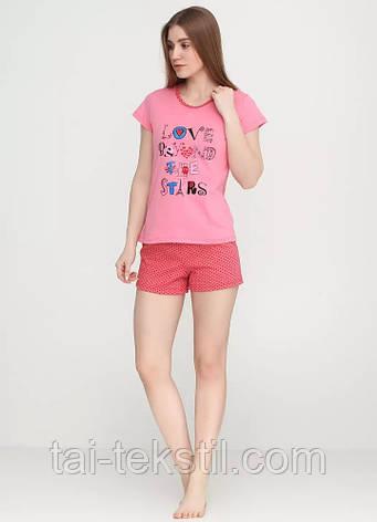 Пижама женская футболка и шорты хлопок 100% Турция №003, фото 2