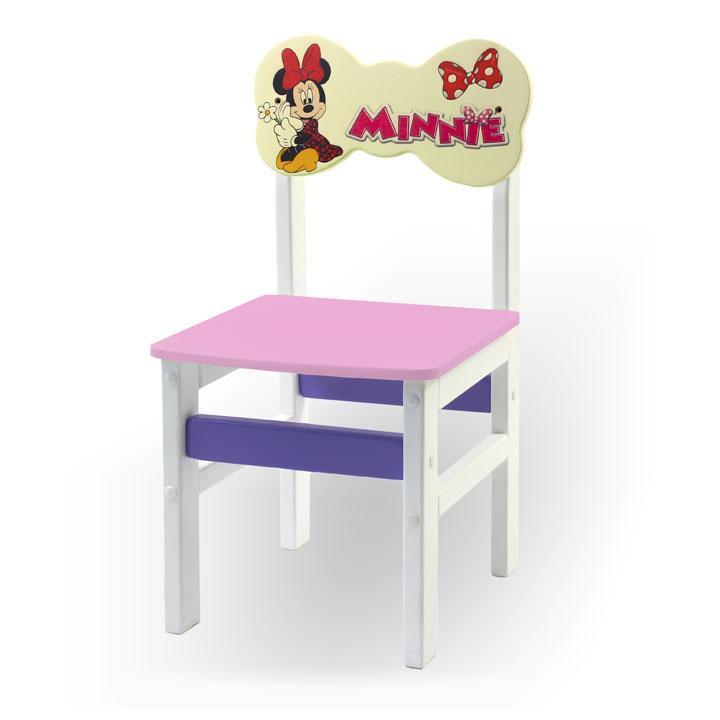 """Стульчик из натурального дерева """"Woody"""" белый с картинкой Минни Маус (цвет – розовый)"""