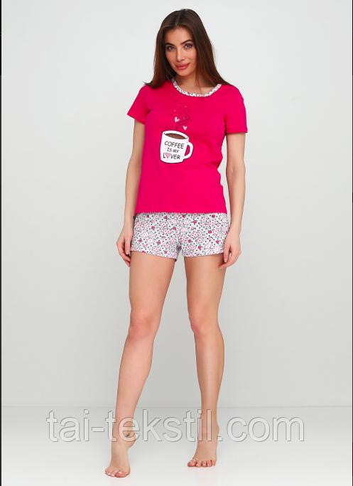 Пижама женская футболка и шорты хлопок 100% Турция №004
