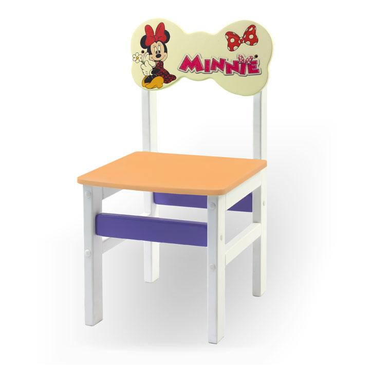 """Стульчик из натурального дерева """"Woody"""" белый с картинкой Минни Маус (цвет – оранжевый)"""