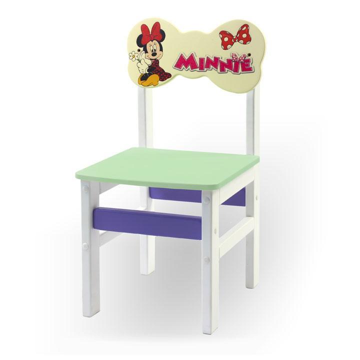 """Стульчик из натурального дерева """"Woody"""" белый с картинкой Минни Маус (цвет – салатовый)"""